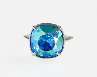 Light Turquoise Ring - Iridscent Aqua Blue Crystal - Turquoise crystal - Swarovski crystal - light blue crystal ring