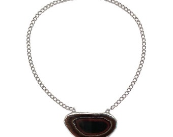 Agate geode slice grounding necklace
