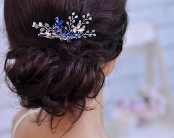 Something blue for bride hair accessories Sapphire hair comb Sapphire jewelry Blue hair piece Crystal hair comb Sapphire hair piece wedding