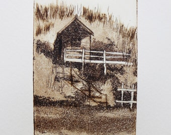 original etching and aquatint of a beach hut