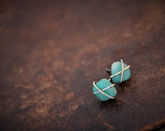 Cross wrapped sterling silver and matte Russian amazonite stud earrings, rough, raw wrapped studs, freeform gem stone earrings, rustic,