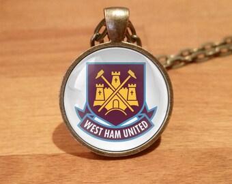 West Ham necklace, West Ham United necklace, charity, Antique Bronze necklace (74b)