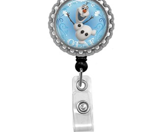 Frozen Inspired Olaf Photo Glass / Bottle Cap Retractable ID Badge Reel