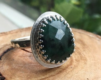 Natural Rose Cut Emerald set in a Sterling Silver Crown Bezel with a Hammer Textured Band