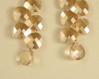 Helen Wang Earrings - 14K Gold-Fill w/ Swarovski Champagne Briolettes.