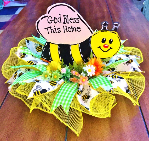 Bumble Bee Flowers Floral God Bless This Home Centerpiece