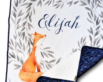 Personalized Baby Quilt * Name Baby Quilt * Name Baby Blanket * Monogrammed Blanket * Baby Name Blanket * Personalized Quilt * Fox Quilt