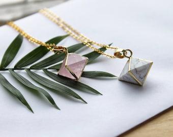 Gemstone Diamond Necklace // Rose Quartz, White Howlite // Geometric Gold Jewelry // Layering Necklace // Long Minimal Necklace // Crystal