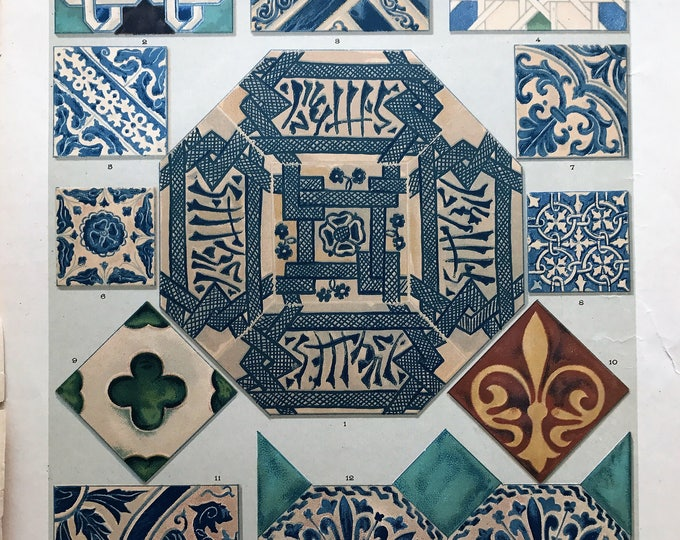 Lithograph of Arab and Catalan tiles