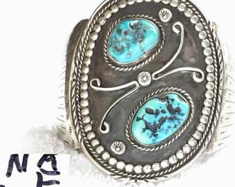 1-E Native American Stamped Sterling-.925-Silver Bracelet