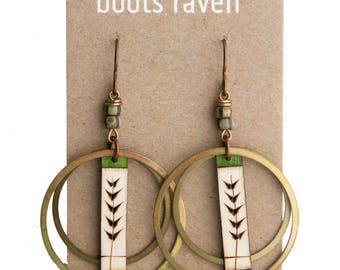 Birch Wood Earrings / Hand Painted / Sustainable Wood / Lightweight Earrings / Art Jewelry / Acrylic Art / Gifts for Her