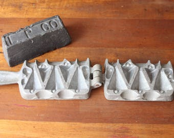Antique Fishing Lead Sinker Mold and Block of Lead, Fishing Weight Mold, Lead Mold, Fishing Supplies