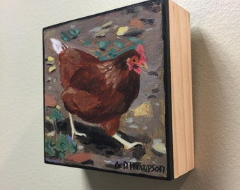 Chicken, NEW, 4x4 painting, acrylic on wood, ready to hang