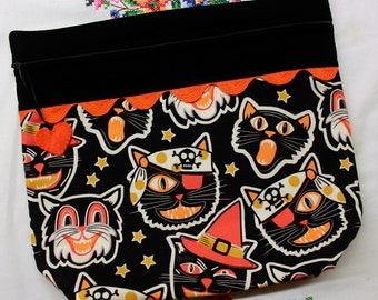 Big Bottom Bag Vintage Frightful Cats Cross Stitch, Embroidery Project Bag