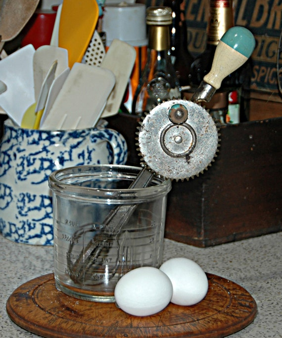 Vintage 1923 A n J MIXER EGG BEATER Kitchen Tool Hand Powered 2 Blue n White Handles Pat Date Oct 9 1923 Condition Consistent w/ Use n Age
