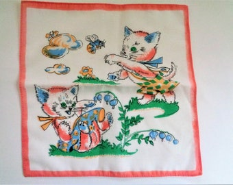 Vintage Childrens Handkerchief, Cat Hanky, Hankies for Girl, Kids Hankies, Vintage Kids Handrerchief, Unused, 80s