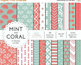 80% Until New Year - Mint and coral digital paper · mint teal peach for scrapbooking tiffany backgrounds with corals seashells behive · Inst