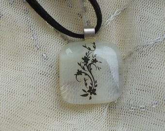 Cream Fused Glass Pendant.  Cream / Vanilla Flower Glass Necklace.  Flower Pendant