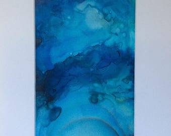 Frozen Pond Alcohol Ink Painting (5x7)