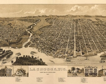 La crosse wisconsin etsy la crosse wisconsin 1887 panoramic map art print multiple reheart Gallery