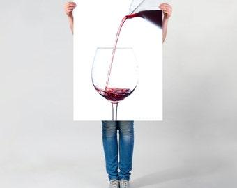 LARGE wall ART, red wine photo, pouring wine photography print, modern tasty wine art, tasteful wine splash on thick white paper, pub decor