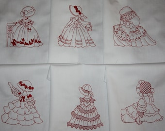 Victorian Redwork Sunbonnet Sue Quilt Blocks Set A