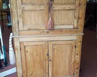 Antique French Pine Double Pantry Cupboard