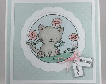 Handmade birthday card - kitten in the garden