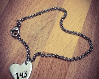 143 Hand Stamped Bracelet. Stainless Steel, Heart Bracelet, Heart Jewellery, Love Bracelet, Love Jewellery, Girlfriend Gift, Wife Gift