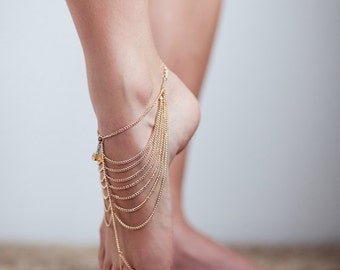 Gold Barefoot Sandal, Foot Chain, Toe Ankle Chain, Foot Jewellery with Gemstone Charm