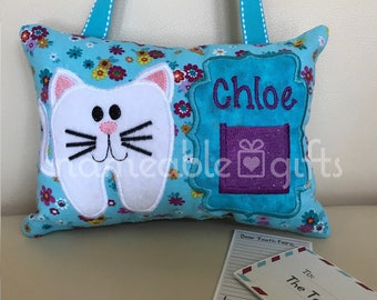 Tooth Fairy Pillows, Personalized Tooth Fairy Pillow, Tooth Fairy Ideas, Kitty Gifts, Tooth Pillows, Unique tooth pillows, Unique gifts