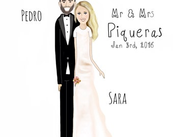 Wedding day- custom print-marriage-couples-Life with you -personalize-cartoon Art-custom cartoon portrait