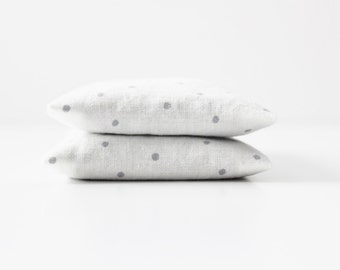 White Minimalist Lavender Sachets, Organic Home Fragrance,  Gray Polka Dot Modern Decor