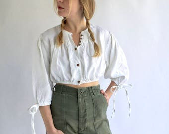 Vintage White Linen Puff Sleeve Shirt | Cropped Smock Folk Blouse Shirt | Gathered Linen Puffy Puff Pouf Sleeves | Provence Romantic