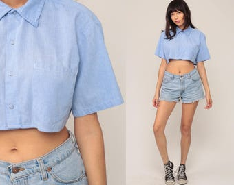 Chambray Shirt 70s Blouse Crop Top Light Blue Button Up Top 1970s Vintage Hipster Short Sleeve Cotton Small Medium