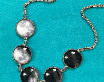 Rose Gold Moon Necklace  - Moon Phase Necklace - Phases of the Moon - Glass Dome Statement Necklace