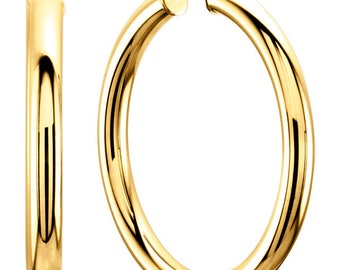 14K Yellow Gold Tube Hoops Available In Four Sizes