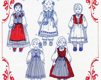 "Nordic Style Clothing for 14"" & 18"" Dolls - Olde Country Costumes Sewing Pattern # 931 Swedish, Norwegian"