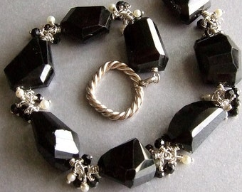 Chunky Black Spinel Bracelet in Silver with Pearls, Bold Gemstone Bracelet, Black and White Bracelet