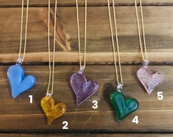 Half Heart Glass Pendant Necklace