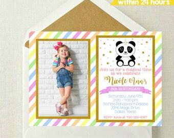 Panda Unicorn Photo Invitation / Unicorn Photo Invitation / Panda Invitation / Unicorn Party Invite / Rainbow Invite / PandaCorn / UniPanda
