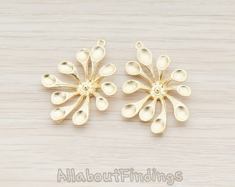 PDT362-MG // Matte Gold Plated Rounded Petal Flower Connector Pendant, 2 Pc