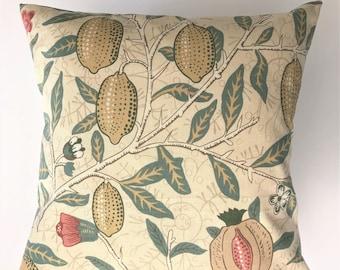 "Handmade 16"" x 16"" William Morris Fabric Cushion Cover in Fruit"