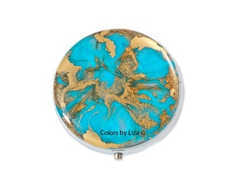 Round Metal Pill Box Hand Painted Enamel in Turquoise and Gold Quartz Inspired Design with Personalized and Color Options