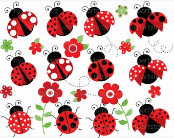 Clipart - Pretty Red Ladybugs - Digital Clip Art (Instant Download)