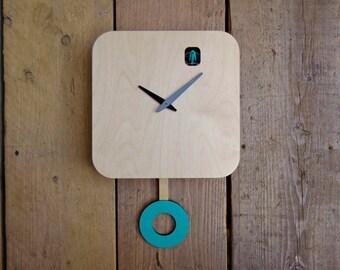 B83Box Plain Turquoise Cuckoo Clock with pendulum