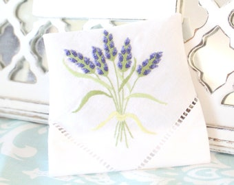 DRIED LAVENDER, Embroidered Dried Lavender Sachet with Satin Purple Bow, Gifts for Her