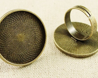 Wholesale 20pcs Fashion Vintage Adjustable Ring Bases Blanks  25mm Antique Bronze Cabochon Rings