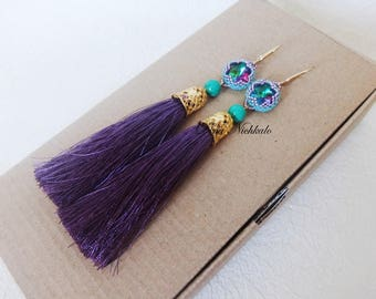 Violet Tassel Earrings Extra Long Boho Earrings Statement Earrings Purple Beaded Tassel Earrings Long Earrings  Dangle Fringe Earrings