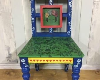 Hand painted chair, Mexican art, hall chair, decorated chair, antique chair, painted chair, chair, chair art, blue chair, wood chair